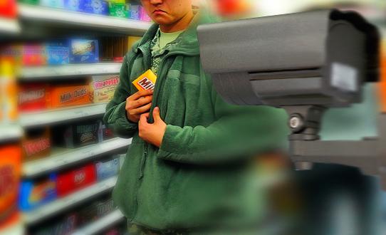 кражи товаров - съемка на видеокамеру