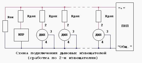 Схема подключения тепловых извещателей