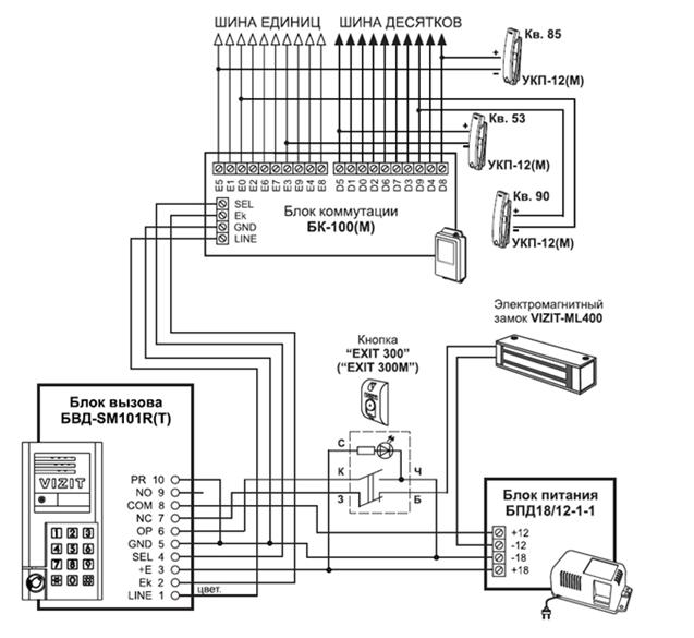 координатная схема подключения домофона