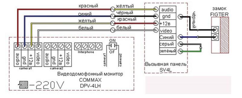 электрическая схема обвязки данного домофона