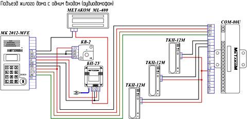 подключение аудиодомофона