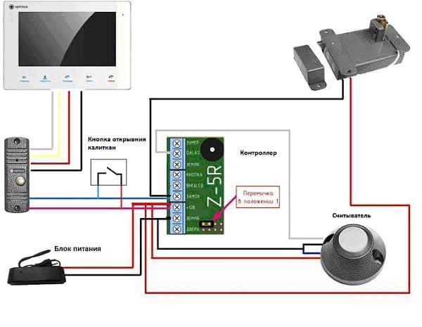 схема подключения видеодомофона с контроллером