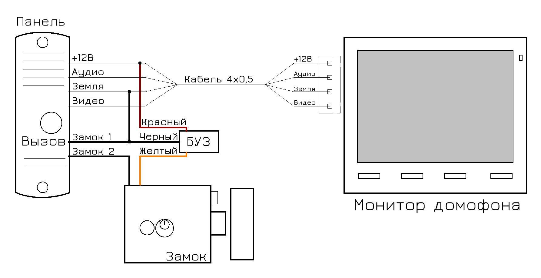 схема подключения вызывной панели